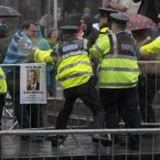 Gardai clash with protesters as former Prime Minister Tony Blair, attends his first book signing at Eason's on O'Connell St, Dublin.