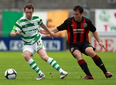 Paddy Kavanagh of Rovers with Mark Rossiter of Bohs in action earlier this season
