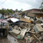 Flood damaged housegoods on Fairfield Road in Yerong, Brisbane on 15 January, 2011. (Demotix/Press Association Images)