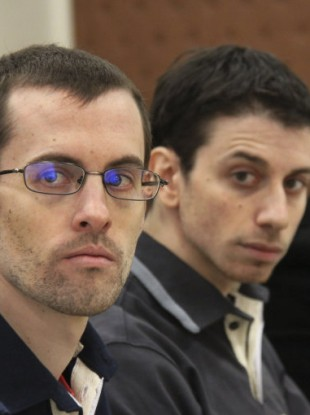Shane Bauer, left, and Josh Fattal attending the opening of their trial in Tehran yesterday.