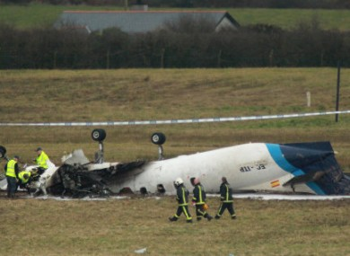 The scene of the Manx2 crash at Cork Airport on 10 February, 2011.
