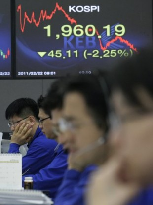 Currency traders sit in front of a screen showing the Korea Composite Stock Price index, which fell today by 1.76 per cent before closing.