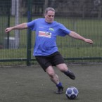 Sinn Fein TD Aengus O Snodaigh shows off his fancy footwork at the same charity football match on Wednesday.