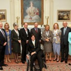 The recipients of the Prince of Wales Medals for Arts Philanthropy, (Martin Naughton, far left).