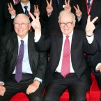 US investor and philanthropist Warren Buffet, right. 