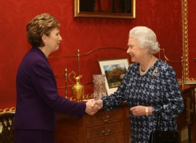 Queen Elizabeth II meeting President McAleese in Belfast in 2005.