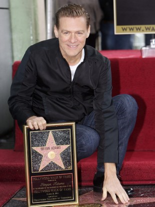 Brian Adams receiving his Hollywood Walk of Fame star on Monday 20 March.