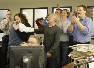 Members of the Milwaukee Journal Sentinel staff celebrating winning the 2011 Pulitzer Prize for Explanatory Reporting this evening.