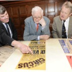 Aongus O hAongusa, Director of the Nat Library of Ireland, shows Dr Garret FitzGerald and Dr John Bowman election powers from 1932. (Sasko Lazarov/Photocall Ireland)