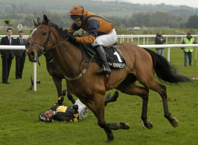 Follow the Plan ridden by Tom Doyle goes on to win the Guinness Gold Cup at Punchestown as Robbie Power falls from Roberto Goldback at the final fence yesterday. 