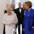 President Mary McAleese and Queen Elizabeth II arrive for the state dinner at Dublin Castle. (Maxwells/PA Wire)