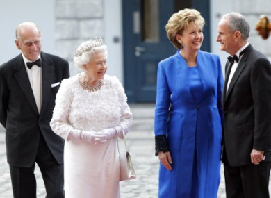 President McAleese and Dr McAleese welcome Queen Elizabeth and the Duke of Edinburgh to Dublin Castle.