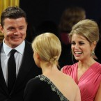 Rugby star Brian O'Driscoll with his wife actress and novelist Amy Huberman at the Dublin Castle event. (Mark Cuthbert/UK Press/PA)