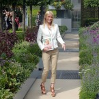 Gwyneth Paltrow in the B&Q Garden, the tallest edible garden at the Chelsea Flower Show.