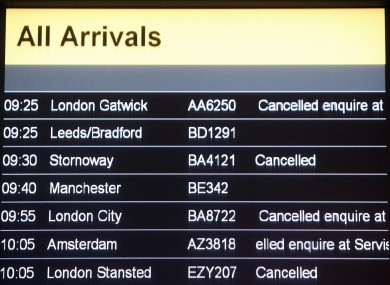 An arrivals board at Glasgow Airport shows a series of cancelled flights as Scottish airspace was closed yseterday.