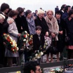The family of Bobby Sands at his funeral in Milltown cemetery, 1981. Pic: Photocall Ireland