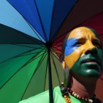 A man, his face painted with the colours of the Brazilian flag, poses during a march against homophobia in Brasilia. (AP Photo/Eraldo Peres)