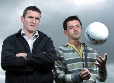 Cork's Graham Canty with Aidan O'Mahony of Kerry at the 2011 Munster GAA Championship launch at Mallow yesterday.