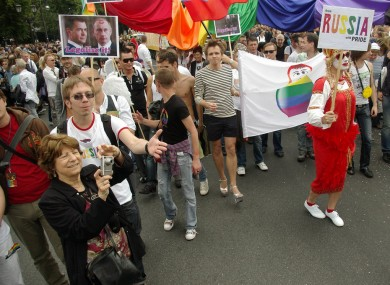 A Gay Pride parade in Berlin, calling on Russia to legalise gay marriage. A proposed Gay Pride parade set for ten days' time in Moscow has been banned by city authorities.