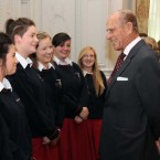 Prince Philip meets students from St Dominic's College, Navan Road, Dublin at Farmleigh House. (Pic: Eamonn Farrell/Photocall Ireland)