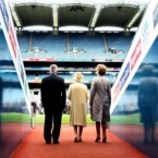 Queen Elizabeth II, President Mary McAleese and GAA President Christy Cooney walk out the tunnel towards the pitch at Croke Park, Dublin, during her historic visit to Ireland this week. Croke Park was scene of one of the worst British atrocities of the War of Independence. (Maxwells)