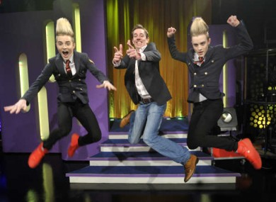Ryan Tubridy with Eurovision hopefuls Jedward
