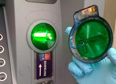 A file photograph of a skimming device taken from an AIB cash machine.