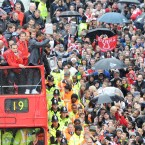 Manchester United parade their 19th Premier League title during an open-top bus parade.