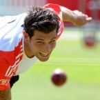 England's Jade Dernbach bowls during the nets session at Lord's ahead of the second test against Sri Lanka.