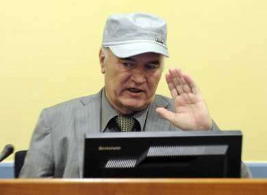 Ratko Mladic at The Hague today