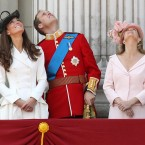 The Duke and Duchess of Cambridge and the Countess of Wessex (right) watch a flypast on the balcony of Buckingham Palace. 