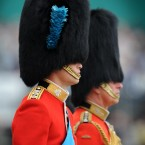 The Duke of Cambridge and the Prince of Wales take part in Trooping the Colour, the Queen's annual birthday parade on Horse Guards Parade in London.