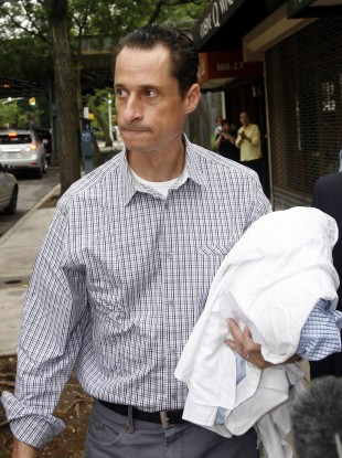 In an unfortunate photo op yesterday, Weiner is pictured bringing his dirty laundry to the cleaners in New York.