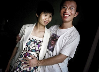 Reunited: Hu Jia and his wife in a picture from 2007. 