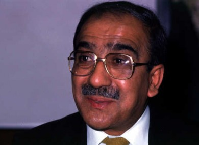 Kader Asmal, pictured in 1990 shortly before returning to South Africa after an academic career in Ireland.