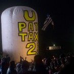 Art Uncut did manage to inflate the balloon for a few minutes as U2 began their set. AP Photo/Joel Ryan