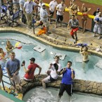 A home run ball falls into the pool during the All-Star Home Run Derby at Chase Field.