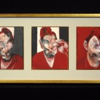 A triptych, three studies for a portrait of Lucian Freud by Francis Bacon.