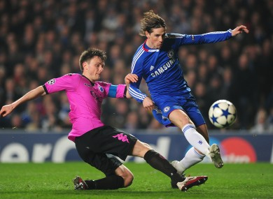 FC Copenhagen's William Kvist (now with VFB Stuttgart) and Chelsea's Fernando Torres battle for the ball during last year's Champions League tie.