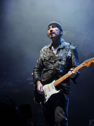 U2's guitarist the Edge performs on the main stage at Glastonbury Festival on Friday June 24, 2011