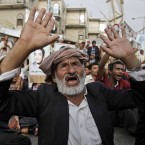 An elderly anti-government protestor in Sanaa, Yemen (AP Photo/Hani Mohammed)