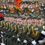 Belarusian troops march during a parade marking Independence Day in Minsk, Belarus, today, the day when Minsk was liberated by the Red Army from the Nazi invaders in 1944. (AP Photo/Sergei Grits)
