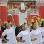 Belarusian sportspeople perform during today's celebrations in Minsk. (AP Photo/Sergei Grits)
