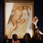 Freud portrait of a pregnant and naked Kate Moss during the auction at Christie's, London.