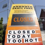 Sign at a skate park in Andover, Massachusetts. (AP Photo/Elise Amendola)