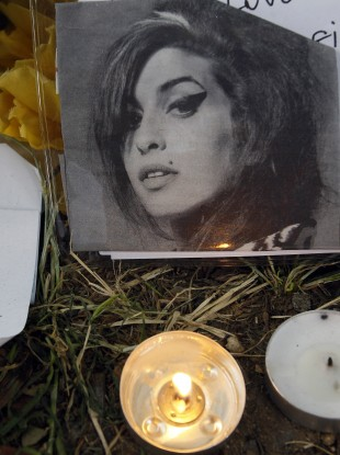 Tributes left outside the north London home of the late Amy Winehouse.