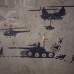 Graffiti painted by Taliban soldiers at a disused base in Afghanistan. (AP Photo/David Goldman)