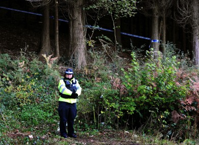 A police officer at the scene of the killing after Rebecca's body was found