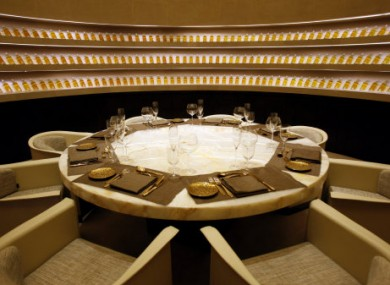 A private dining room is seen at the world's first Armani Hotel in Dubai, United Arab Emirates