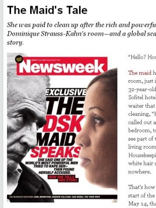 The front cover of Newsweek featuring Nafissatou Diallo, the maid who claimed that she was assuaulted by Dominique Strauss Kahn